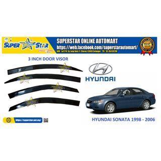 Hyundai Sonata 1998-2006 Door Visor Air Press Car Window Door Visor Wind Deflector Anti UV Light 3 inch (4pcs)