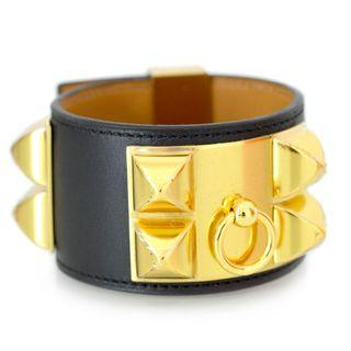 Authentic HERMES Collier De Chien CDC Bracelet Black Chamonix Leather