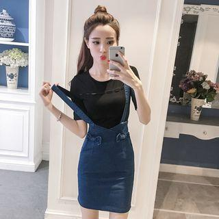 Denim Blue Coloured With Front Cute Ribbon Bow Crossed Back Suspender Overall Dress