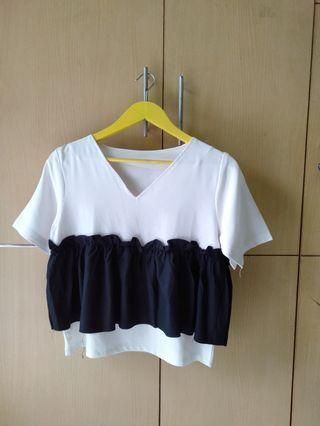 COTTON INK RUFFLE BLOUSE