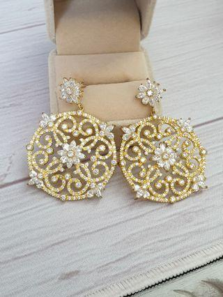 🚚 Gold Plated Brass Vintage Baroque Medallion CZ Diamond Earrings Wedding Formal Occasion #endgameyourexcess