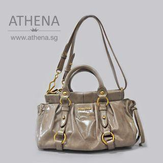 9115226a4009 MIU MIU MINI VITELLO LUX BAULETTO APERTO IN BEIGE WITH DUSTBAG JG BG 082