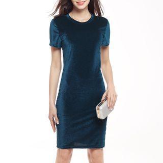5 colours! Velvet Dress casual minimalist loose dress bodycon evening gown dress tshirt t tee shirt dress formal pencil bandage skirt dress