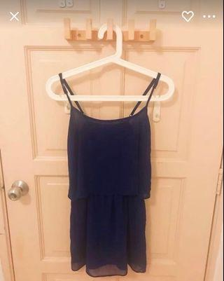 MNG Mango Chiffon Dress in Navy Blue