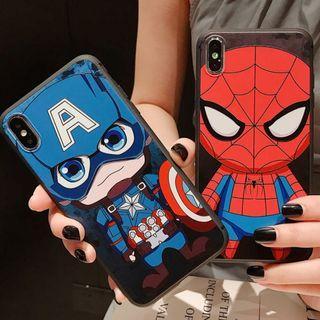 (Y)手機殼IPhone6(s)/7/8/Plus/XR/X(S)/MAX : Q版蜘蛛俠/美國隊長