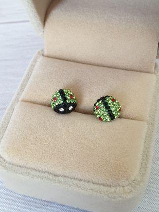 🚚 Handmade 925 Sterling Silver Ladybug Crystal Earrings Studs #endgameyourexcess