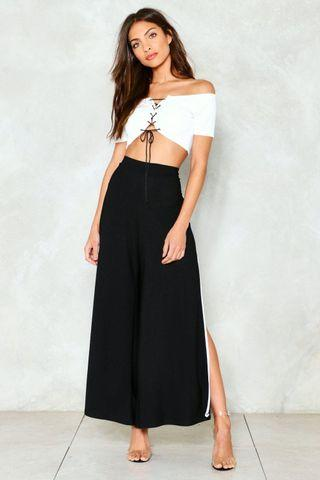 Black Side Split Pants With Contrast Piping