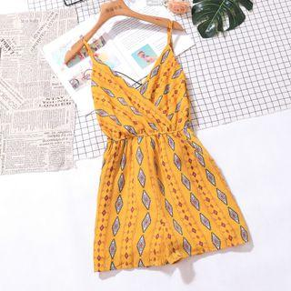 Bohemian Pattern Prints With Back Crossed Straps Trendy Romper