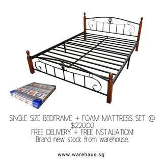 Brand New Queen Size Bed and Foam Mattress Bundle Bed Set