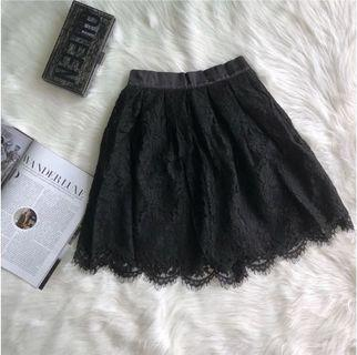 Black Lace Scalloped Skirt