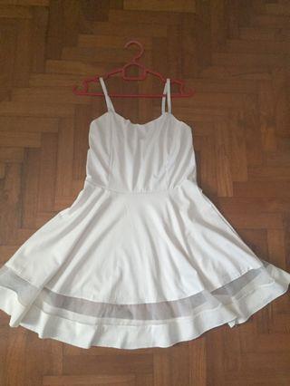 White Mesh Panel Skater Dress