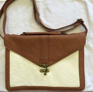 Brown White Sling Bag