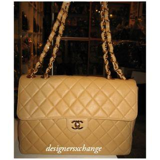 Chanel Camel Lambskin Jumbo Quilted Classic 2.55 Gold Hardware Single Flap Bag