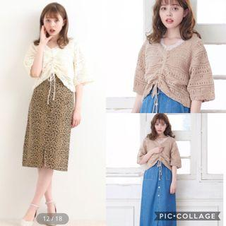 💕實拍💕日系V領針織鈎花短身上衣 japan fashion  knit crotchet top cropped top crop top