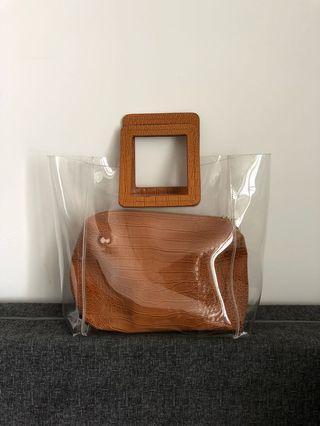Clear Vinyl Brown Bag