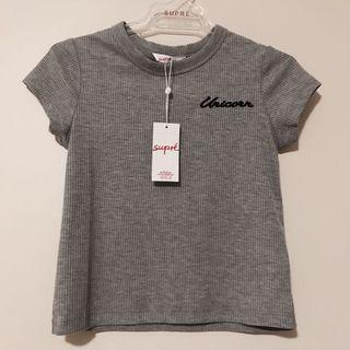 Unicorn embroidered grey ribbed crop top