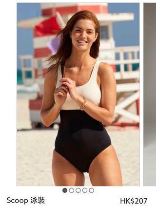 全新 Swimsuit 米黑色連身泳衣 (6號 UK6)