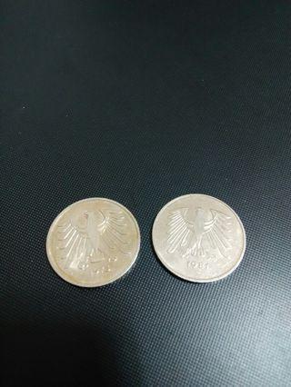1975+81年德國2個5馬克