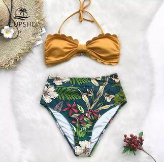 Cupshe S size tropical floral bikini with yellow halter tube top