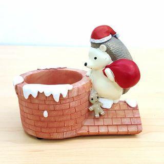 刺蝟 聖誕老人 多肉植物花盆 擺設 *不包括植物* Hedgehog Santa Clause Resin Flower Pot Small Succulent Plant (包本地郵局自取)