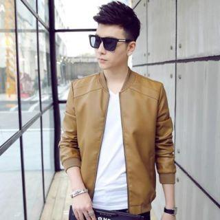 Stand Collar Pu Leather Men's Short Jacket