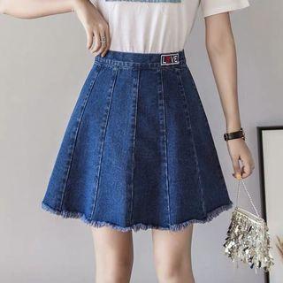 Denim Blue Coloured Tassel Fringe With Love Embroidered Skater Skirt