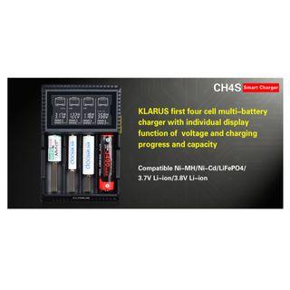 Klarus CH4S LCD Display Intelligent L-Ion/Ni-Mh/LiFePo4 USB 4 Bay Battery Hybrid Charger Full Set