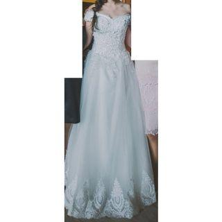 [price dropped!] Wedding Gown Set (with long veil, gloves and bouquet)