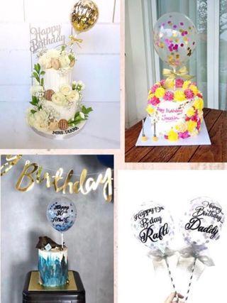 🚚 Confetti Balloon Birthday Cake Topper