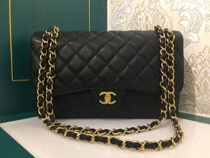 f6aecd3ad2c5 #16 Like New Chanel Jumbo Classic Double Flap Black Caviar with GHW