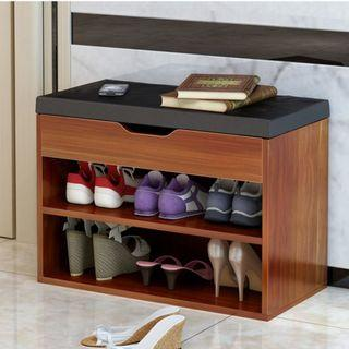 Wooden shoe storage rack with cushioned stool