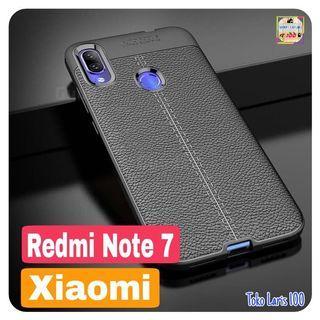 Softcase Leather Autofocus Xiaomi Redmi Note 7 - Cover Hitam