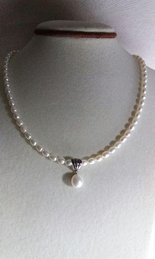 925 Sterling silver freshwater pearl pendant necklace純銀淡水珍珠吊咀頸鏈