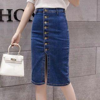 Denim Blue Coloured Buttons Down With Front Slit Skirt