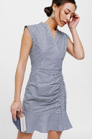 Love Bonito Yanamarie Striped Ruched Flounce Dress