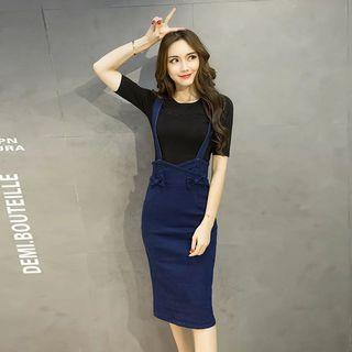 Black Basic Top With Denim Blue Cute Ribbon Bow Back Crossed Suspender Overall Dress 2-Pieces Set