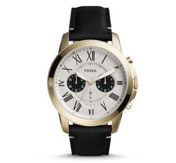 Fossil Men's Grant Chronograph black Leather Watch