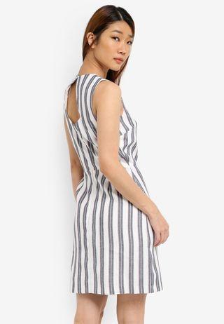 Warehouse Stripe Open Back Dress