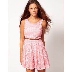 River Island pink skater dress