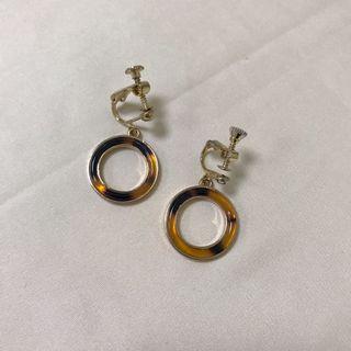 玳瑁圈圈耳環(耳夾式)