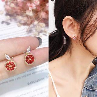 🚚 現貨韓國精緻S925純銀可愛水果微鑲鋯石耳環/耳針
