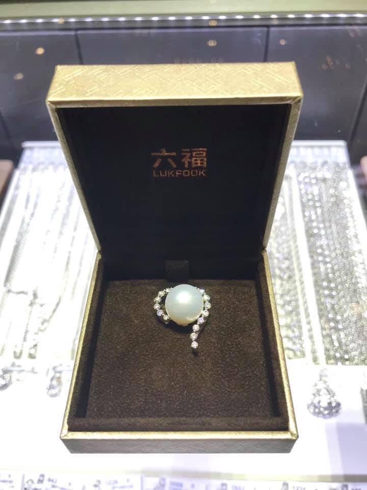 六福珠寶18K金(白色)鑽石珍珠吊墜13.2mm 6.55g White Gold South Sea Cultured Pearl and Diamond Pendant