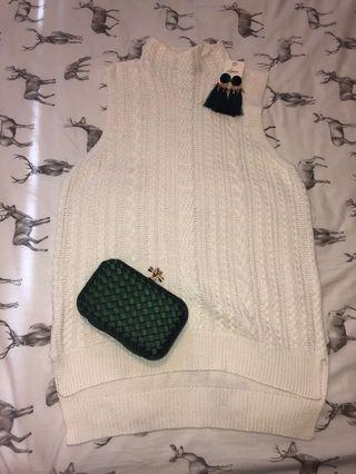 High neck turtle neck white knit