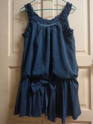 🚚 藍色 雪紡洋裝