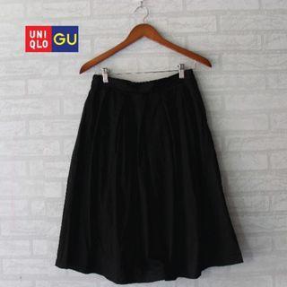 GU UNIQLO Black Cotton Midi Skirt