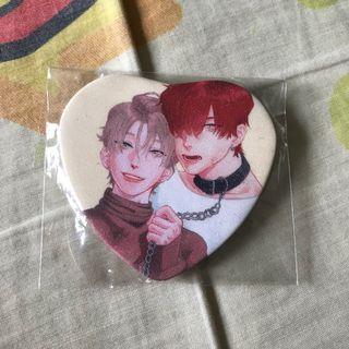 BL YAOI BOYS LOVE HEART BADGE