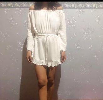 White Jumpsuit sabrina - jumpsuit putih dress pantai (preloved)