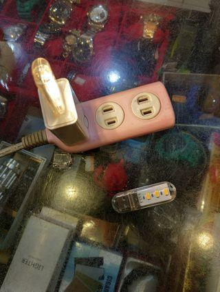 USB(照明露營燈)插在行動電源上25