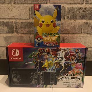 [NEW] Nintendo Switch Super Smash Bros. Ultimate Edition (w/o game) + Lets Go Pikachu Pokeball Bundle