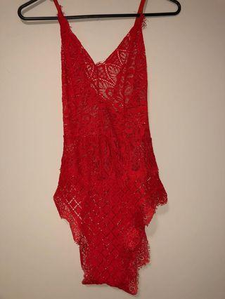 Red lace bodysuit 6/8